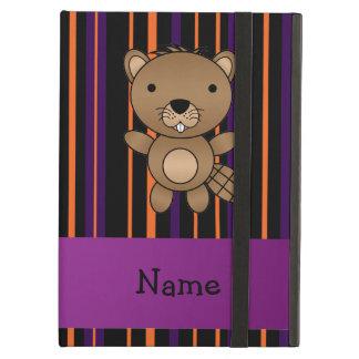 Personalized name beaver halloween stripes iPad case