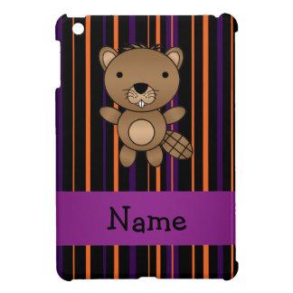 Personalized name beaver halloween stripes case for the iPad mini