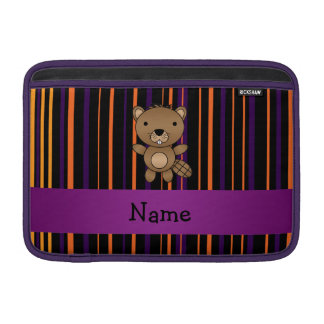 Personalized name beaver halloween stripes MacBook air sleeve