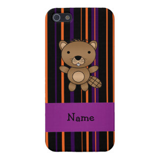 Personalized name beaver halloween stripes cases for iPhone 5