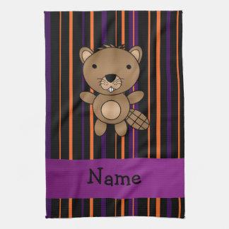 Personalized name beaver halloween stripes kitchen towel