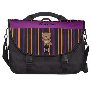 Personalized name beaver halloween stripes laptop computer bag