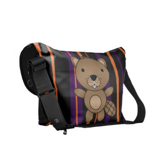 Personalized name beaver halloween stripes messenger bags