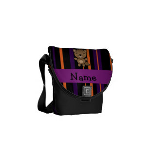 Personalized name beaver halloween stripes courier bag