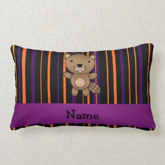 Personalized name beaver halloween stripes pillow