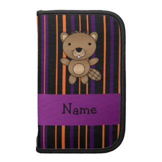 Personalized name beaver halloween stripes folio planners