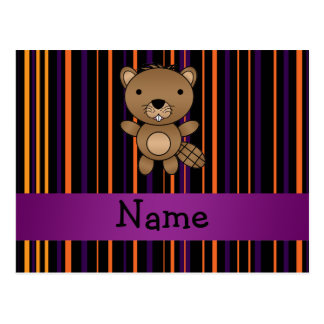 Personalized name beaver halloween stripes postcard