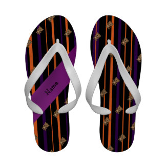 Personalized name beaver halloween stripes sandals