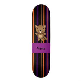 Personalized name beaver halloween stripes skate deck