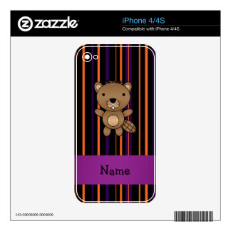 Personalized name beaver halloween stripes iPhone 4S decals