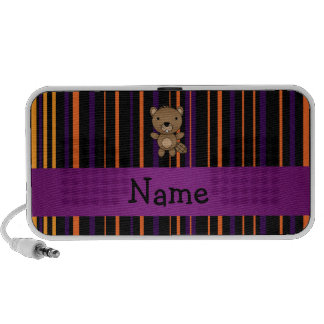 Personalized name beaver halloween stripes notebook speakers