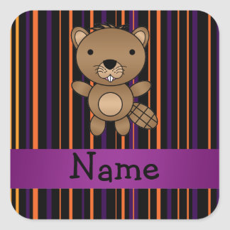 Personalized name beaver halloween stripes sticker