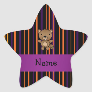Personalized name beaver halloween stripes star stickers