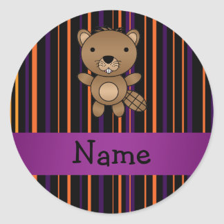 Personalized name beaver halloween stripes round sticker
