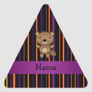 Personalized name beaver halloween stripes triangle sticker