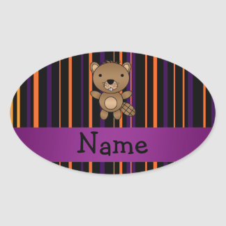 Personalized name beaver halloween stripes oval stickers