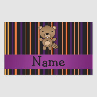 Personalized name beaver halloween stripes rectangle stickers