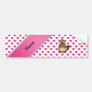 Personalized name beaver pink hearts polka dots bumper sticker