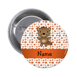 Personalized name beaver pumpkins pattern 2 inch round button