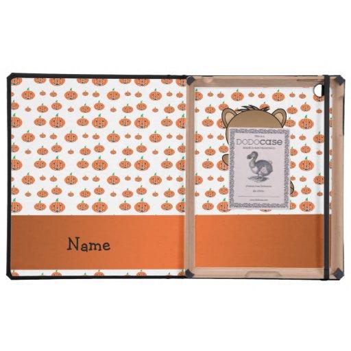 Personalized name beaver pumpkins pattern iPad folio case