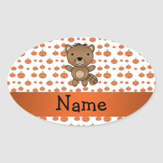 Personalized name beaver pumpkins pattern stickers