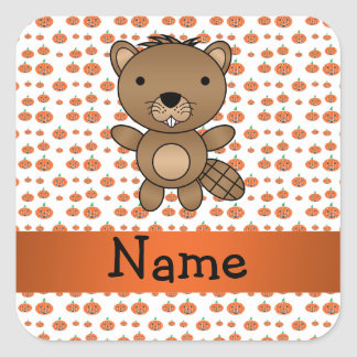 Personalized name beaver pumpkins pattern sticker