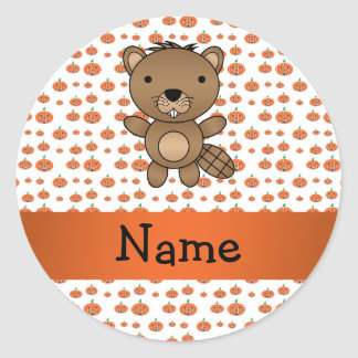 Personalized name beaver pumpkins pattern round stickers
