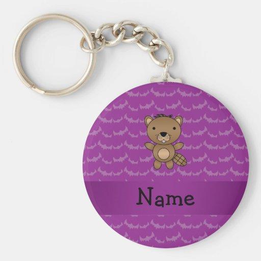 Personalized name beaver purple bats basic round button keychain
