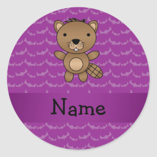 Personalized name beaver purple bats round sticker