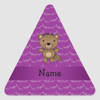 Personalized name beaver purple bats triangle stickers