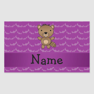 Personalized name beaver purple bats rectangular stickers