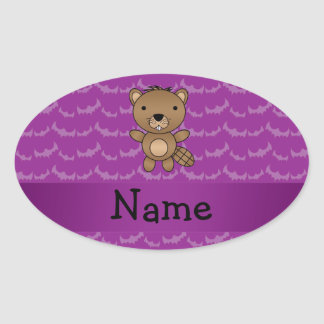 Personalized name beaver purple bats oval stickers