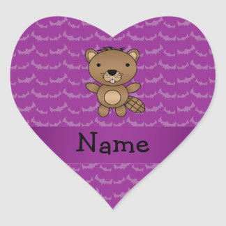 Personalized name beaver purple bats heart stickers