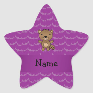 Personalized name beaver purple bats star stickers