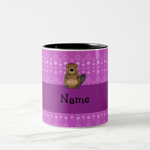 Personalized name beaver purple bubbles coffee mugs