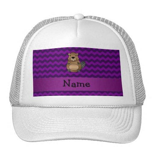 Personalized name beaver purple chevrons hats