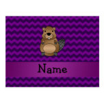 Personalized name beaver purple chevrons postcard
