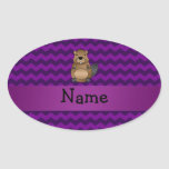 Personalized name beaver purple chevrons oval sticker