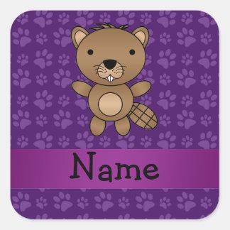 Personalized name beaver purple paw pattern square sticker