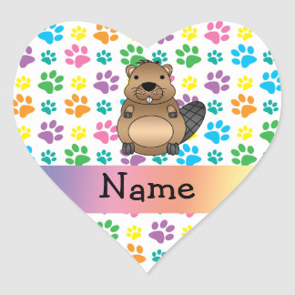 Personalized name beaver rainbow paws heart stickers