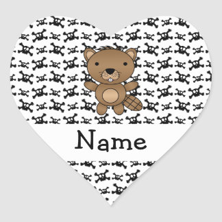 Personalized name beaver skulls pattern heart stickers