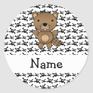 Personalized name beaver skulls pattern round stickers