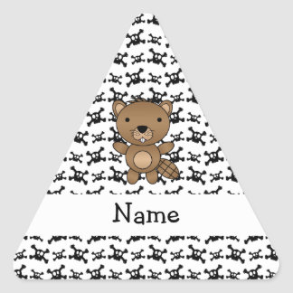 Personalized name beaver skulls pattern stickers