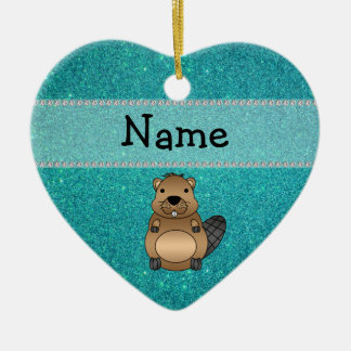 Personalized name beaver turquoise glitter ornaments
