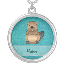 Personalized name beaver turquoise glitter silver plated necklace