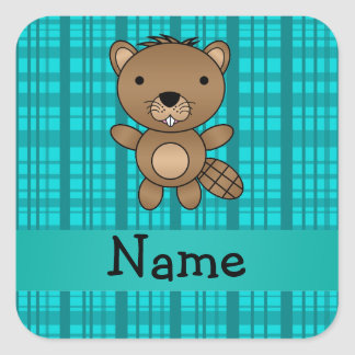 Personalized name beaver turquoise plaid pattern stickers