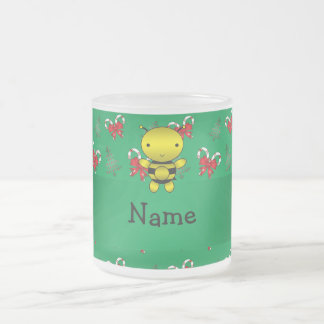 Personalized name bee green candy canes bows coffee mug