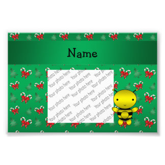 Personalized name bee green candy canes bows photographic print