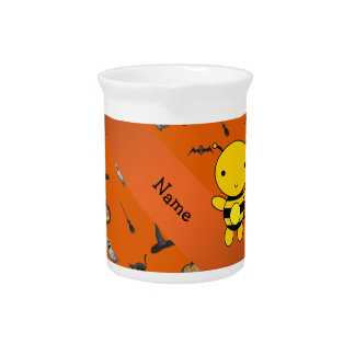 Personalized name bee halloween pattern beverage pitcher