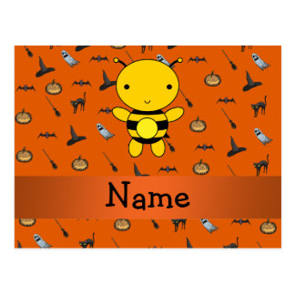 Personalized name bee halloween pattern postcard